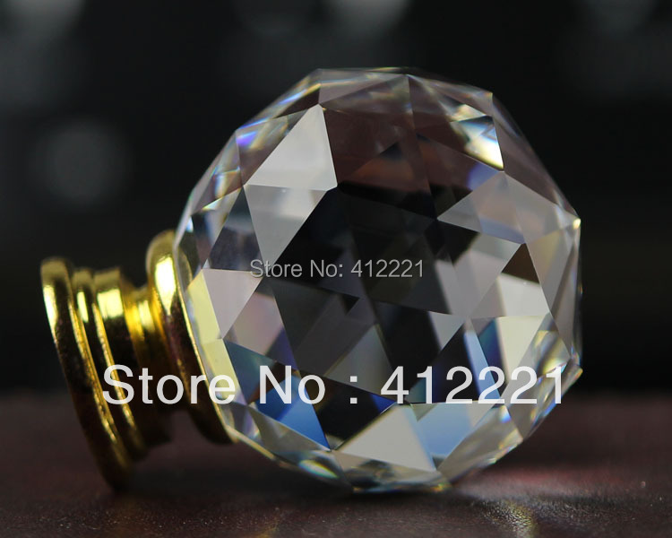 NEW free shipping 10pcs/lot 35mm Crystal Clear ROUND Knob Handle in Brass without Lock<br><br>Aliexpress