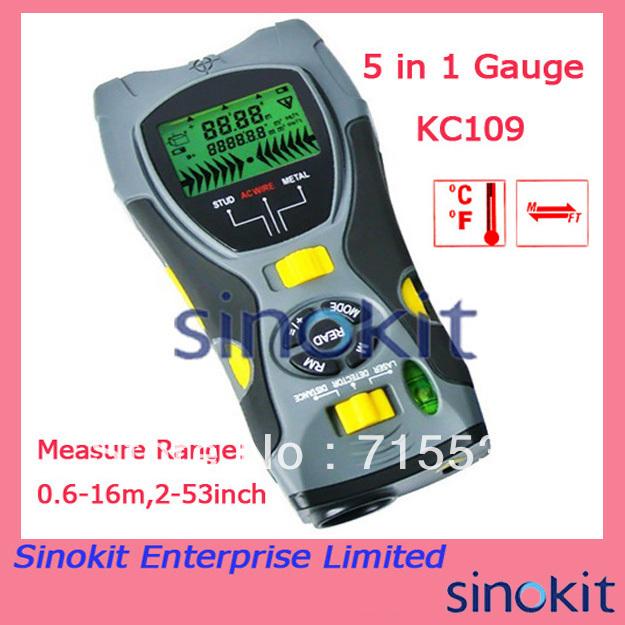 5 in1 Multifunction Detector 0.6~16m Distance Meter Stud/Joists Metal Wire Detector Laser Marker Tool SK109A