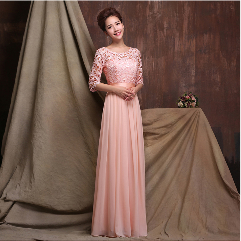 2016 new o neck a line floor length chiffon long sleeve for Red wedding dresses with sleeves
