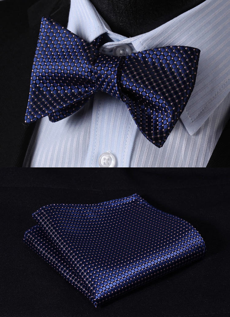 BC1015V Blue Pink Check Classic 100%Silk Jacquard Woven Men Butterfly Self Bow Tie BowTie Pocket Square Handkerchief Suit Set - HISDERN store
