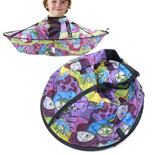 Cute Mike Turtle Print Kids Haircutting Cape Waterproof Childern Hairdressing Steel Wire Cape(China (Mainland))
