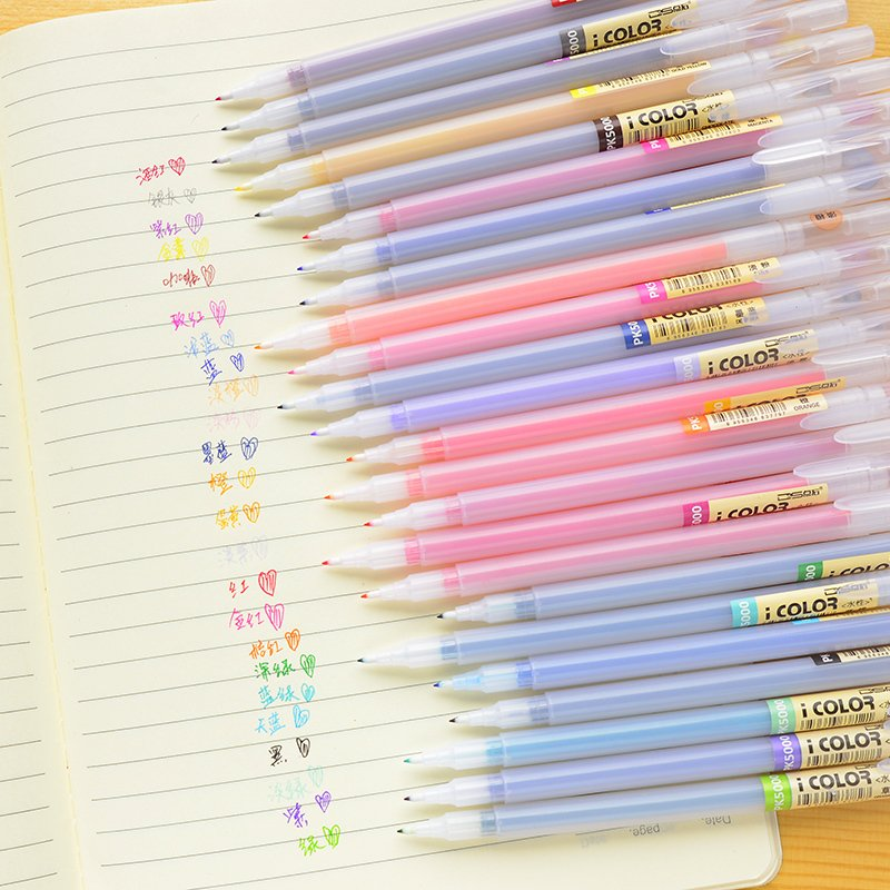 10 pcs new cute School Supplies 24 colors fiber pen 0.38mm very fine gel pen delineating marker(China (Mainland))