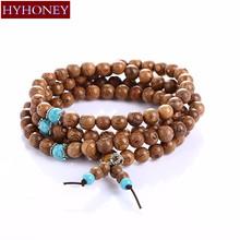 Buy HYHONEY 8mm Natural Sandalwood Buddhist Buddha Meditation 108 beads Wood Prayer Bead Mala Bracelet Women Men Jewelry for $1.97 in AliExpress store