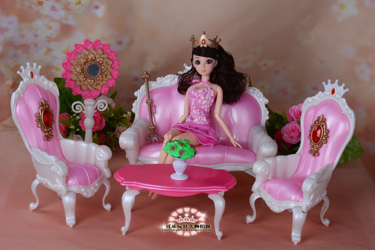 Doll equipment furnishings for barbie doll lounge couch play set toys woman diy construct up toys birthday presents 1/6