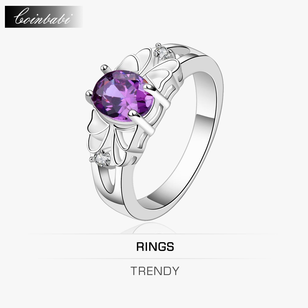 Round Ring,Trendy 925 Sterling Silver & Zirconia Gift For Women Dress Accessories,Foreign Trade Oval Purple Zircon Simple Ring(China (Mainland))