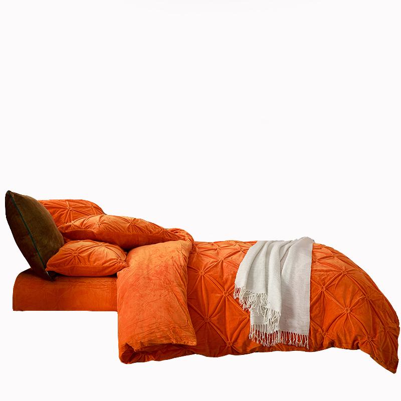 Bright orange upgraded velvet bedding comforter set winter comforter bedding pillowcases warm bedspread soft for children adults(China (Mainland))