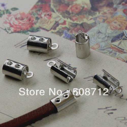 Free shipping!!500pcs/lot nickel Fold Over End Cord Crimps Caps/ End Caps Fit 4mm Round Leather Cord or 3mm square Leather Cord(China (Mainland))