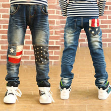 2015 New Boys Jeans Casual Straight Boys Solid Elastic Jeans Kids Jeans Baby Boy Jeans For 4-11 Years Boy(China (Mainland))