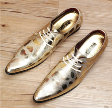 Brand Genuine Leather Oxford Shoes For Men silver Casual Men Oxford Shoes Gold Men Dress Shoes