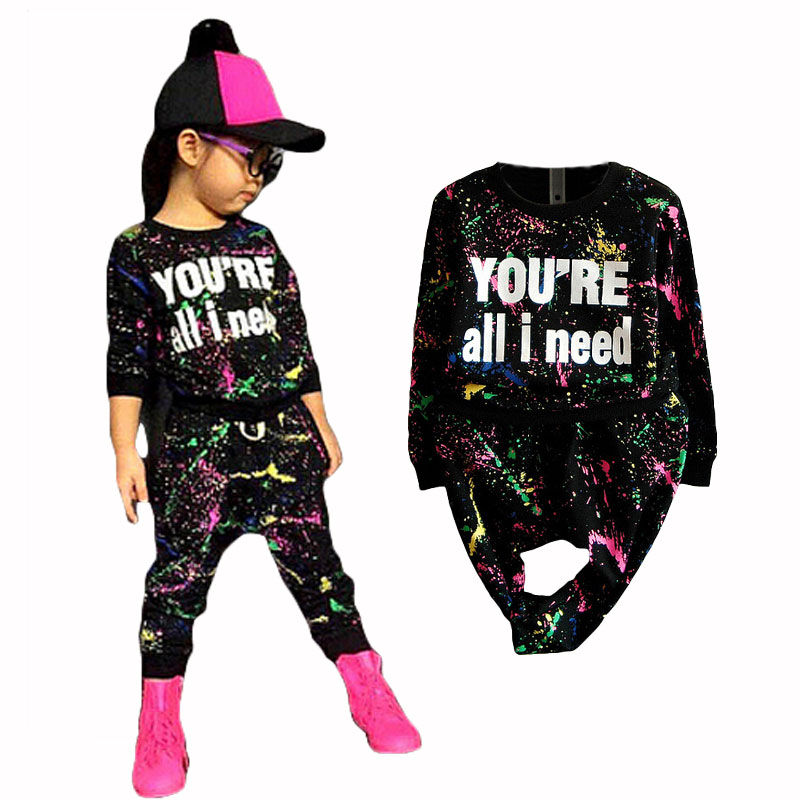 new fashion girls tracksuit baby kids sport clothes set coloful letter printed children suit clothing set for 2-7years old(China (Mainland))