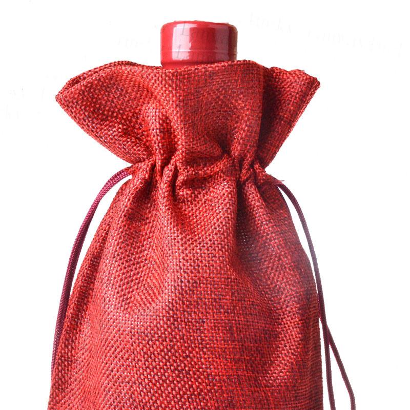 Jute Wine Bottle Bags 15cmx35cm 6 X 185 Champagne Covers Linen Gift Pouches Burlap Hessian Packaging Bag