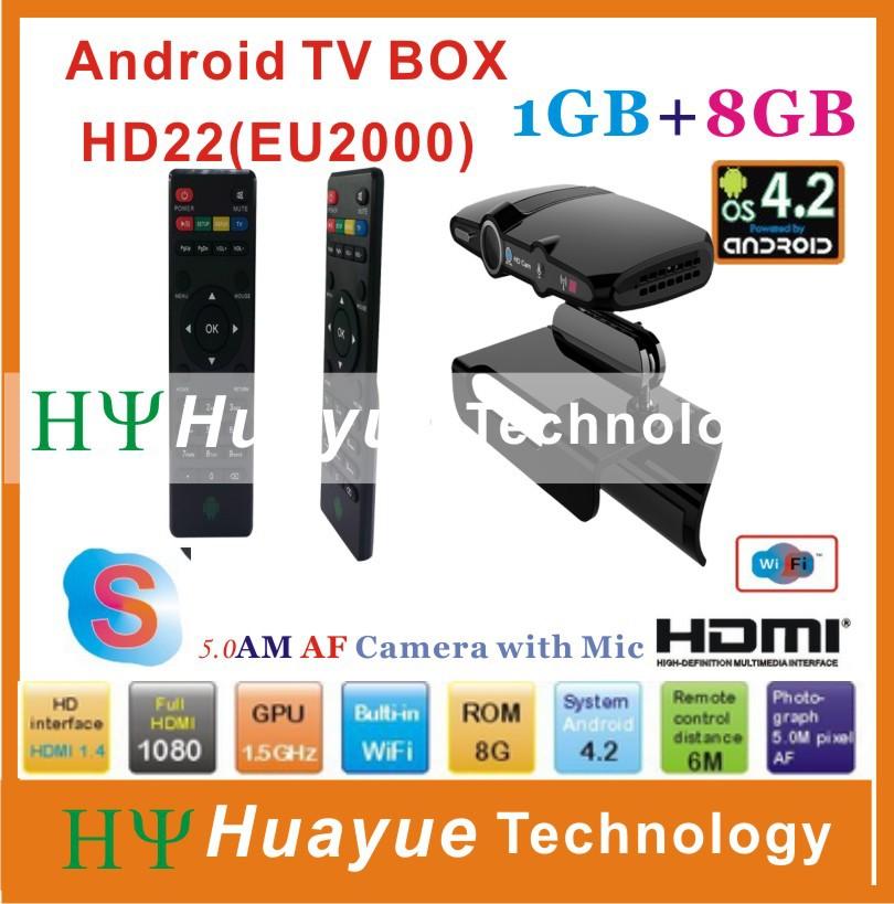 2015 New! 5.0MP and Mic Android TV camera HDMI 1080P 1GB/8GB android 4.2 skype Google Android TV box HD22(China (Mainland))