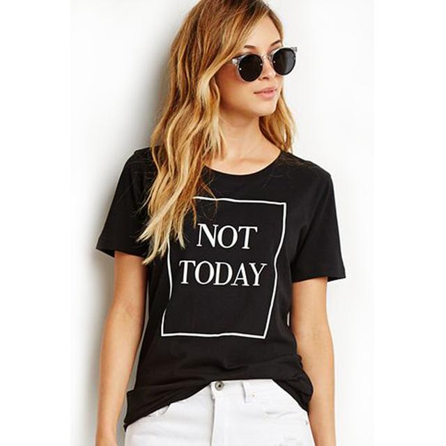 Мода Майка Для Женщин Топы Не Сегодня Письмо Принт Футболка 2016 Лето С Коротким Рукавом О-Образным Вырезом черный Тис Рубашка Femme плюс размер