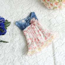 hot sale Baby Girls Floral Denim Dress Kids Beach/ Summer/ Princess/Chiffon Layer Dresses(China (Mainland))