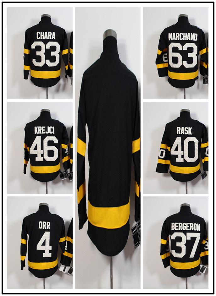 New black 46 David Krejci 63 Brad Marchand Men 40 TUUKKA RASK Hockey Jersey Bobby Orr Zdeno Chara Patrice Bergeron Jersey(China (Mainland))