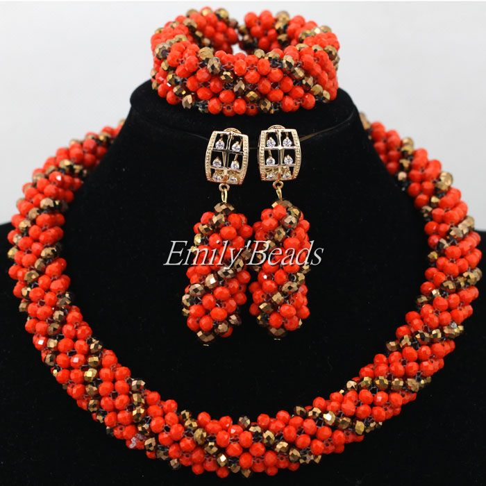 Free Shipping! Orange/Gold Nigerian Crystal Beads Necklace Bracelet Earrings Gold Plated African Costume Jewelry Set AIJ669(China (Mainland))