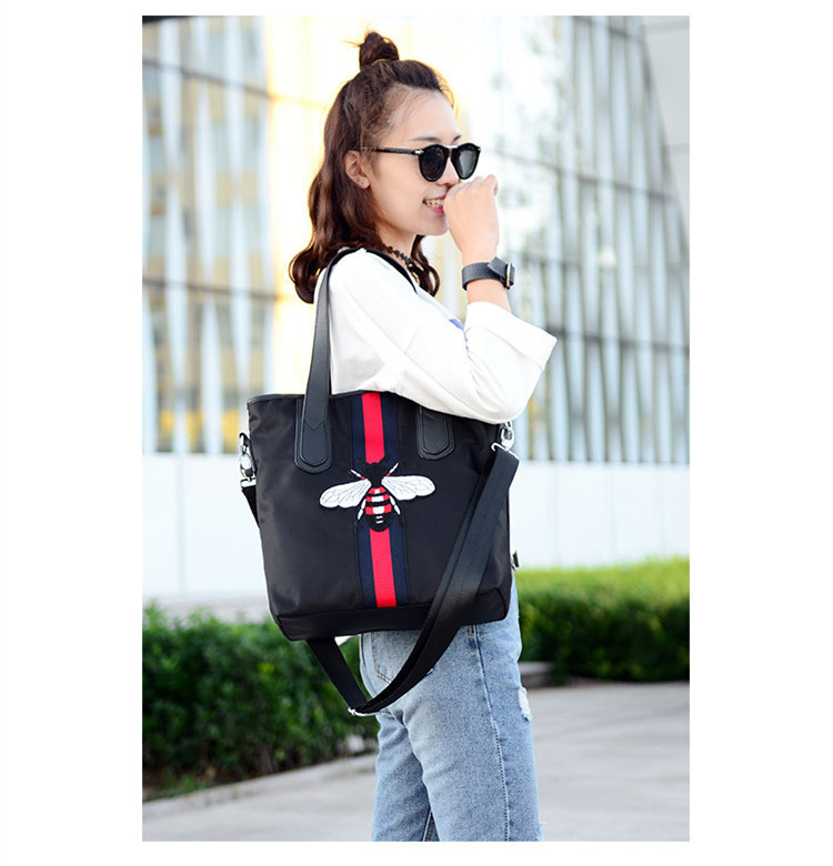 2016 New Brand Waterproof Nylon Handbags Women Large Capacity Print One Shoulder Bag Casual Black Top Handle Tote Shopping Bags