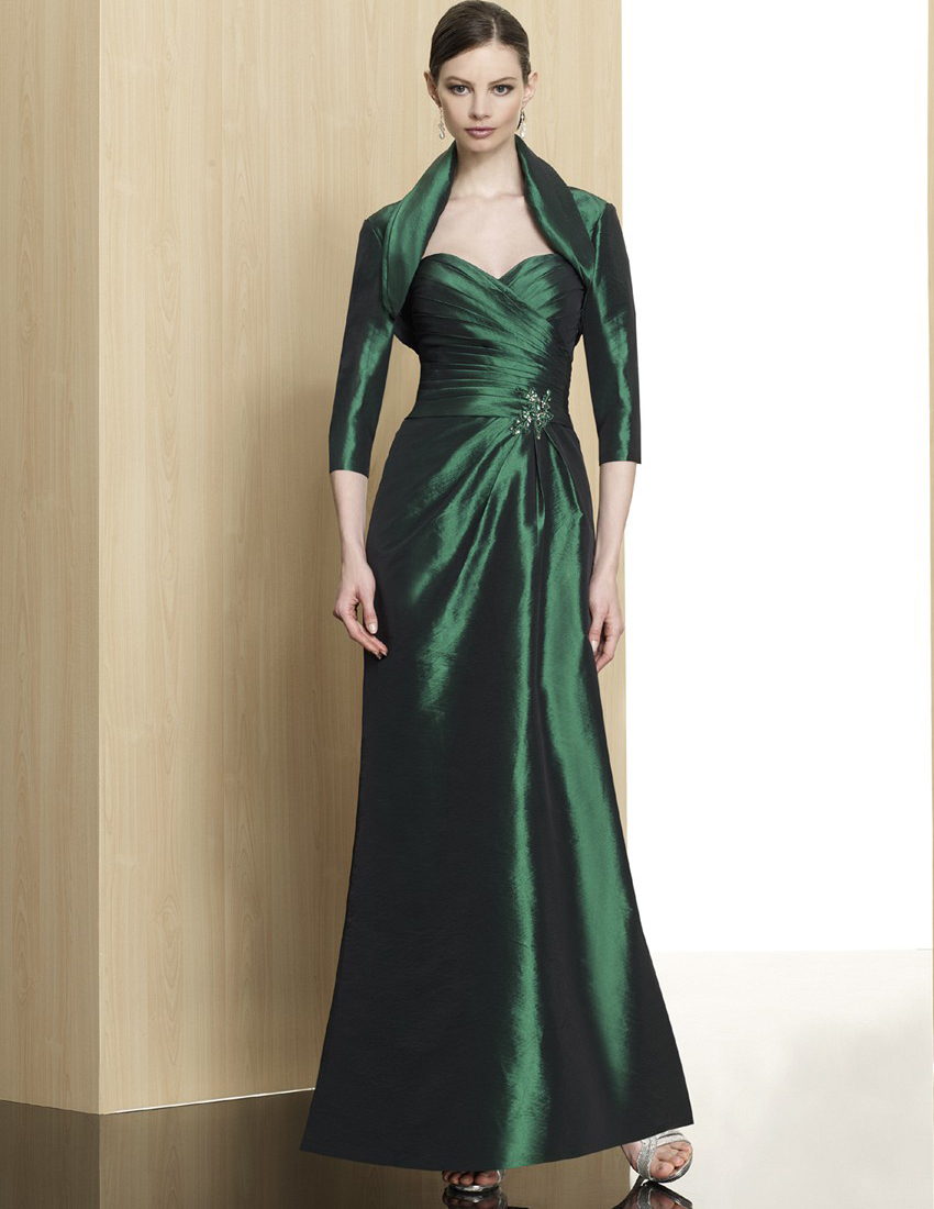 Elegant Emerald Green Evening Dress With Jacket 2015 Plus
