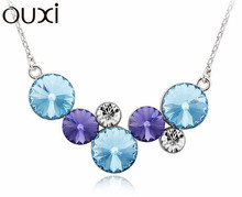 NLA272 Made With Verified Swarovski Elements Dream Clouds Pendant Thick White Gold Plated Free Shipping