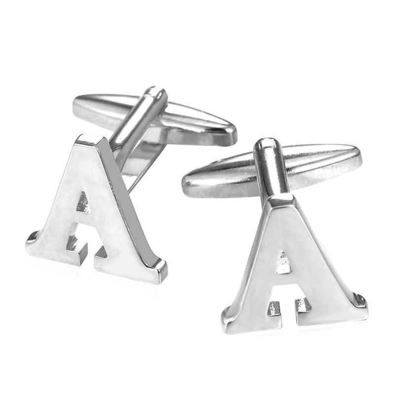 A-F Alphabet Easy Design Cufflinks For Mens 18K Gold/Platinum Plated Cuff links Letter A To F Men Cufflinks High Quality C1997(China (Mainland))