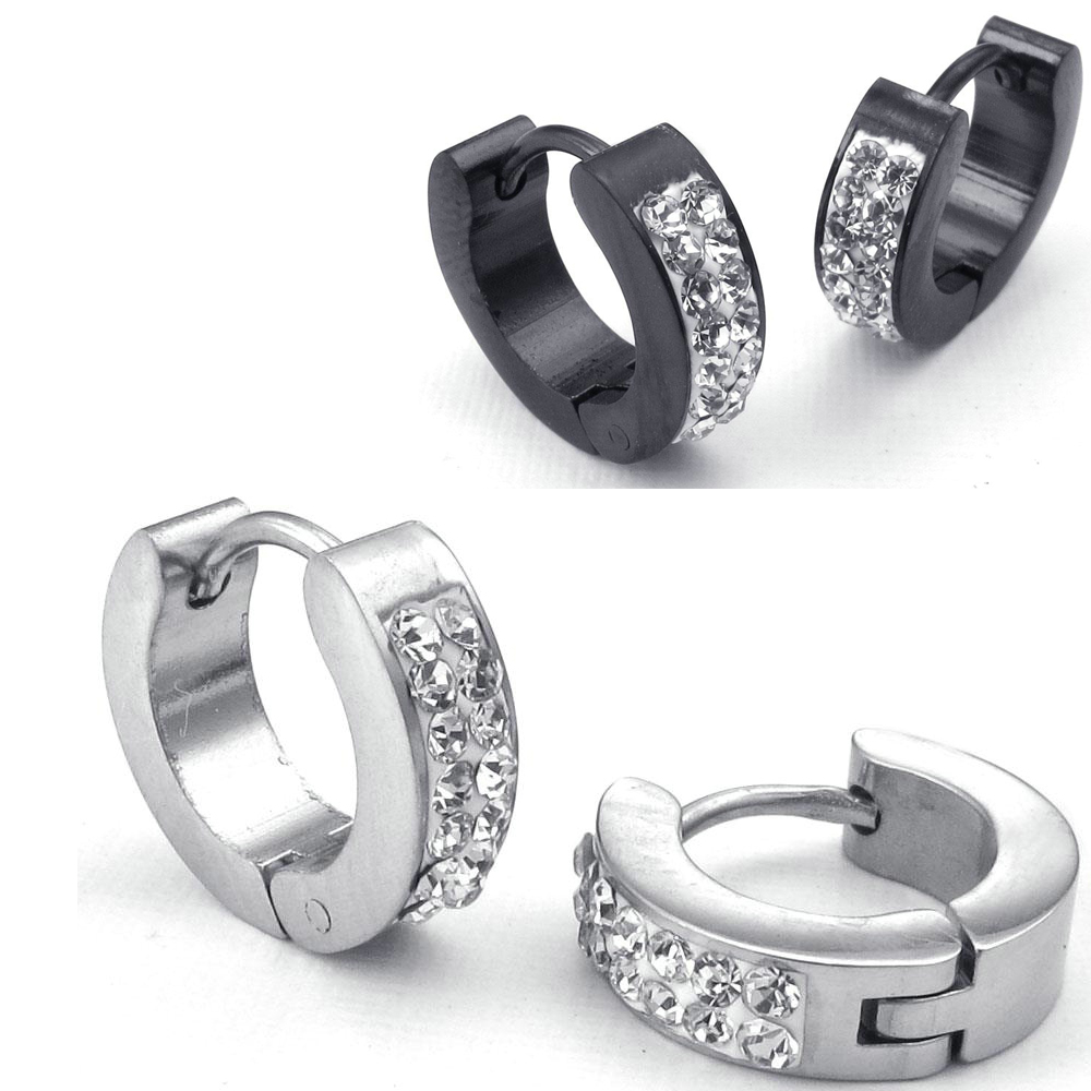 Hot Selling Fashion Jewelry Mens Womens Cubic Zirconia Stainless Steel Stud  Huggie Hoop Earrings Set, Black Silver Free Shipping
