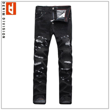 Ripped Jeans For Men Beggar Pants PP Brand Skinny Jeans Men Top Designer Fashion Printed Jeans Slim Fit Black Color Size 28-36(China (Mainland))