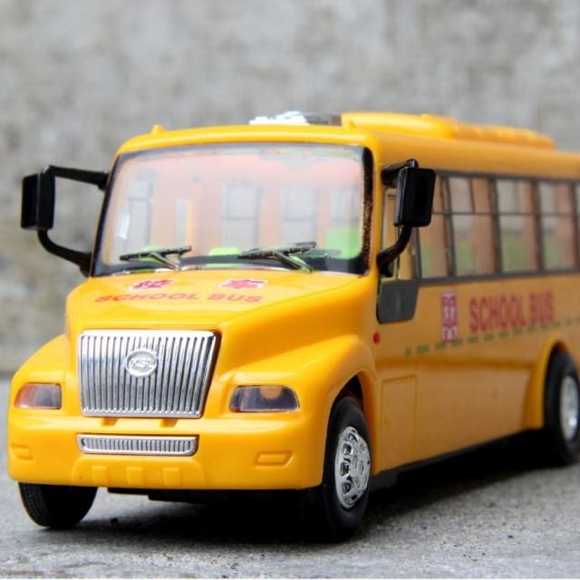 Bus school bus plain open the door the music car model toy