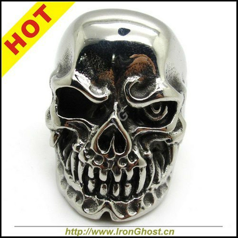 , Men Boys Silver Biker Rings Stainless Steel Ghost Terminator Skull Ring Gothic Jewely - ironsoul Store store
