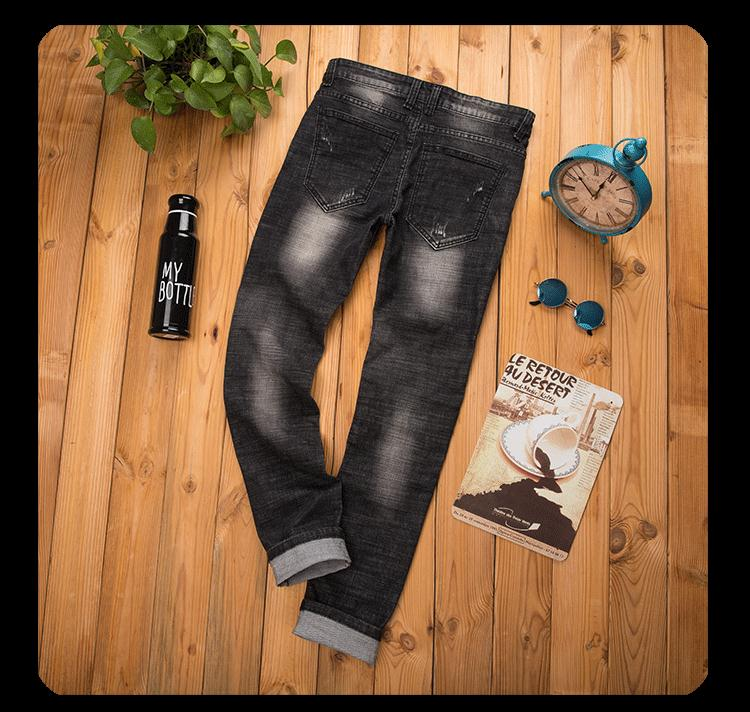 Скидки на Узкие джинсы мужчины 2017 Весной и Осенью мода Новые продукты Ноги Тонкий Прилив мужской Мотоцикл брюки Панк Прямые брюки C144