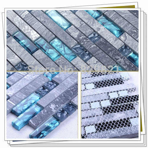 Blue shell glass mixed grey stone mosaic tiles for kitchen for Blue mosaic bathroom accessories