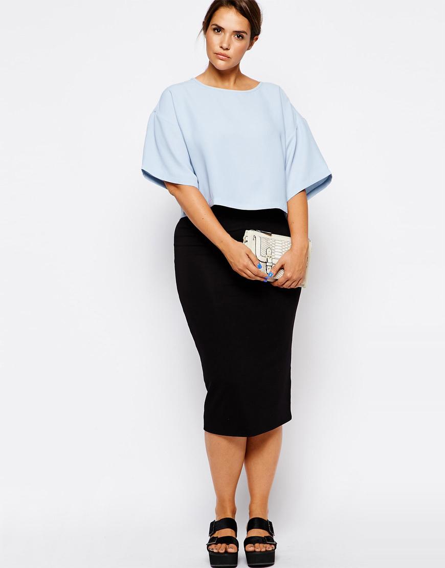 plus size high waist pencil skirt elastic strech
