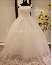 Wedding Dress 2016 Vestido de noiva Lace Embroidered Beading Vintage Sweet Straps yarn puff Wedding dress 2015 Wedding gowns