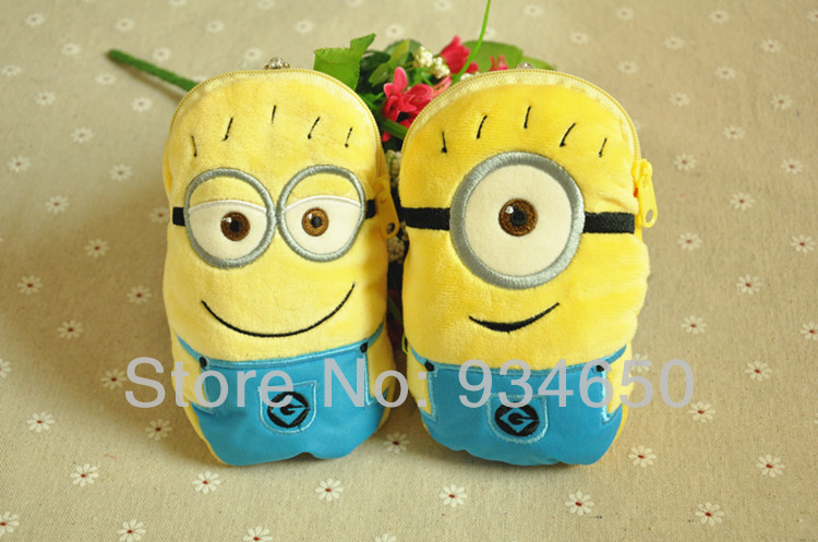 Despicable me 2 Minions Mobile Phone Bags Small Retractable Card Holder coin purse Phone Bags & Cases(China (Mainland))