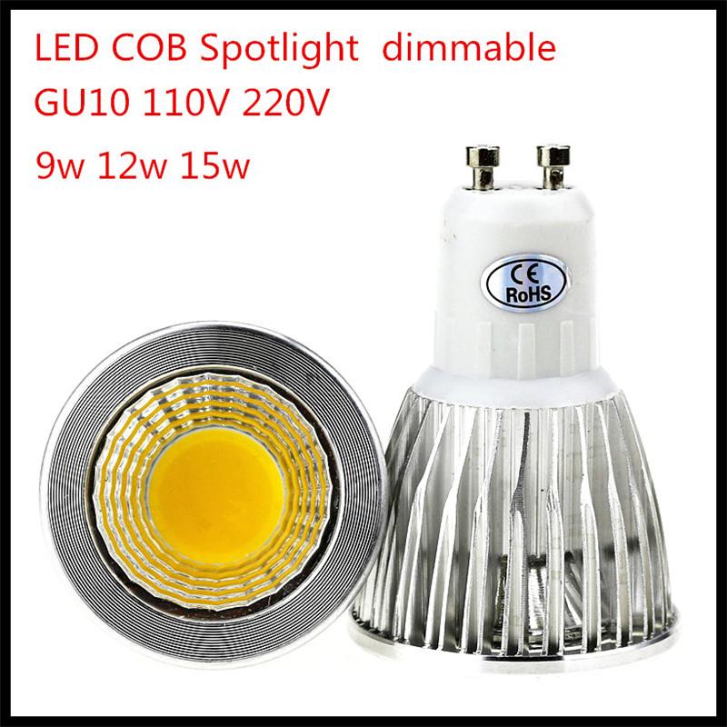 1X Free shipping 110V-220V 9W 12W 15W Dimmable GU10 COB LED lamp light led Spotlight White/Warm white led lighting(China (Mainland))