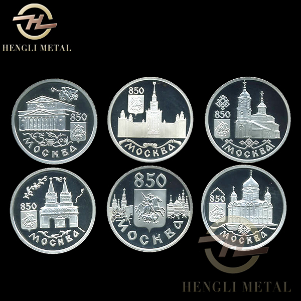 6pcs/lo Famous Building Sovenir Coins USSR One 1 Ruble Russia 850 th Anniversary of Moscow Copy Coins Russian Set(China (Mainland))