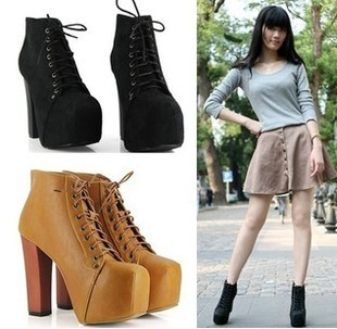 Elegant  Fashion Padded Collar Ankle Work Booties Lace Up Chunky Heel Shoes