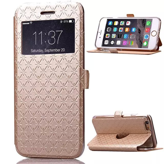 Ultra-thin light Pu+PC Pu leather case flip cover apple iphone 6 6S Plus S stand wallet phone bag shell - Moon walk store