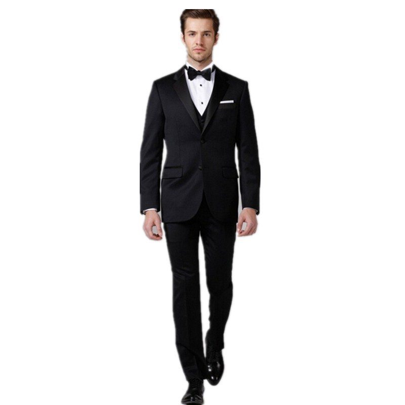 Top Custom made slim fit black suit wedding groom tuxedos black