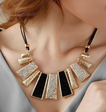 New Style Vintage Black Rope Irregular Geometric Figure Short Rhinestone Necklace Design  Free shipping(China (Mainland))