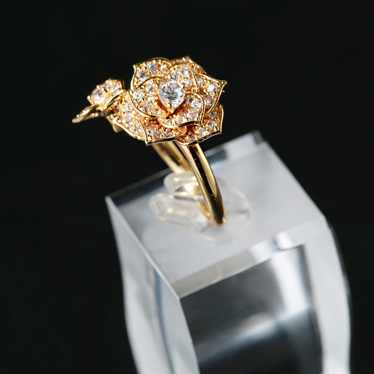 2015 New Arrival New Brand Gold Plated Jewelry Holy River Rose Zicron Opening Rings for Women Wedding Engagement Ring Golden(China (Mainland))