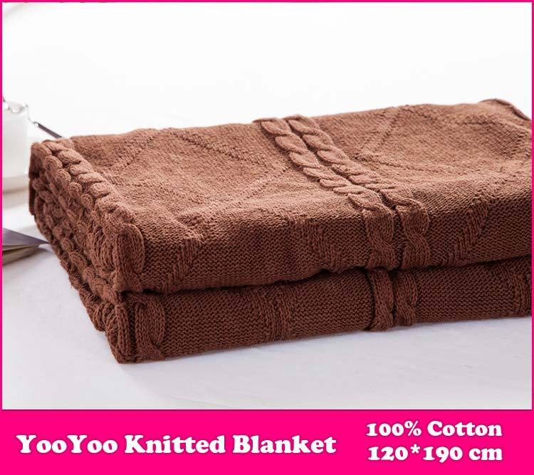 YooYoo Knitted Blanket / 100% Cotton Knitted Throw Blanket Super Soft Warm Cover Blanket Diamond Knit, 47*74 Inch 120*190cm(China (Mainland))
