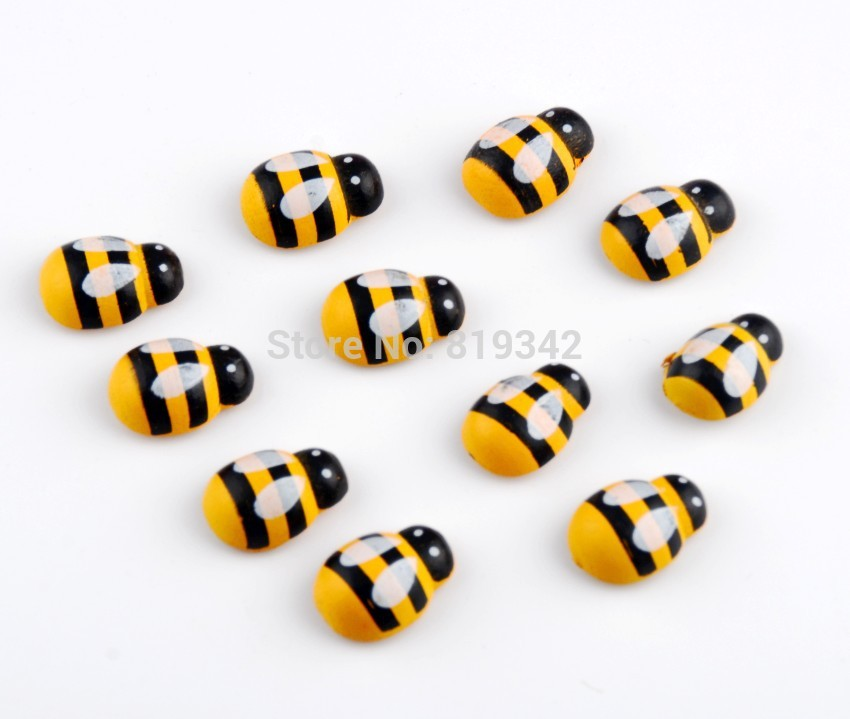 Free shipping-100pcs Painted Beads Wooden Bees Ladybug Beads Stickers Easter Wood Craft Scrapbooking Ornament 19x14mm D3051(China (Mainland))