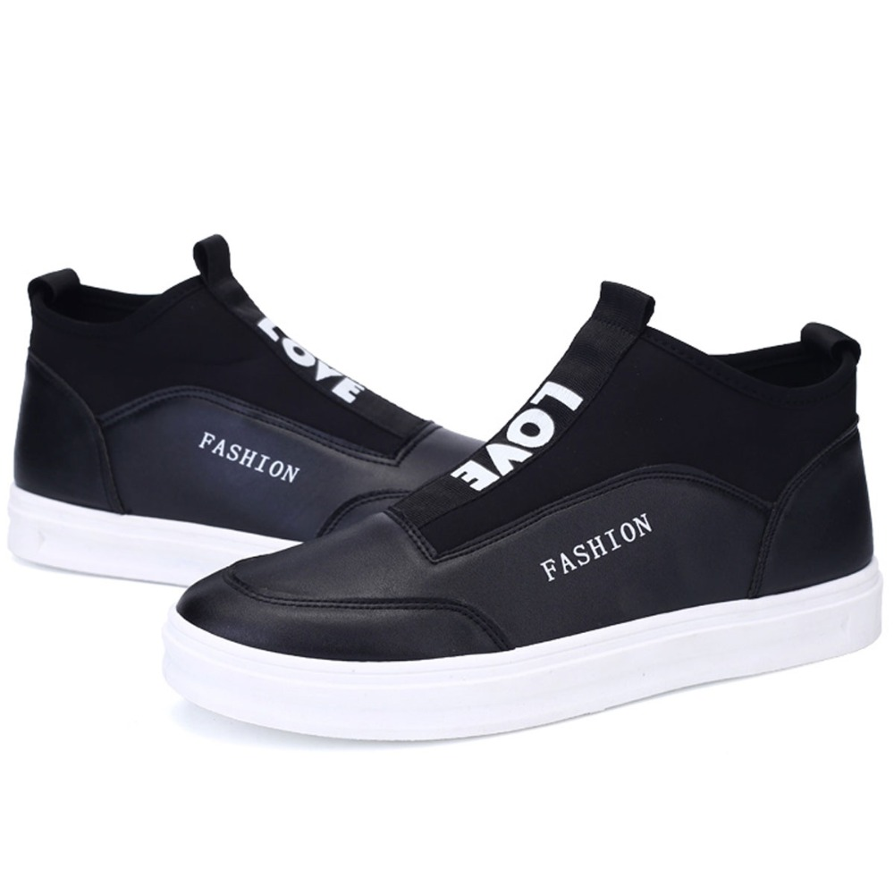 Fashion Quality Leather & Stretch Fabric Casual Shoes Mens High Top Skate Shoes Slip-on Flats Platforms For Young Man Trendy New(China (Mainland))