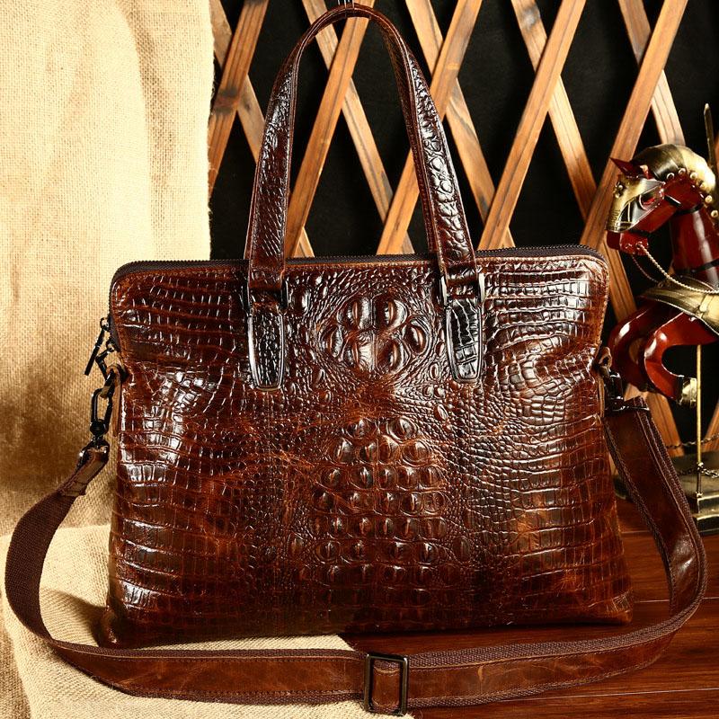 2017 new crocodile embossed leather bag man business handbag Crossbody leather briefcase