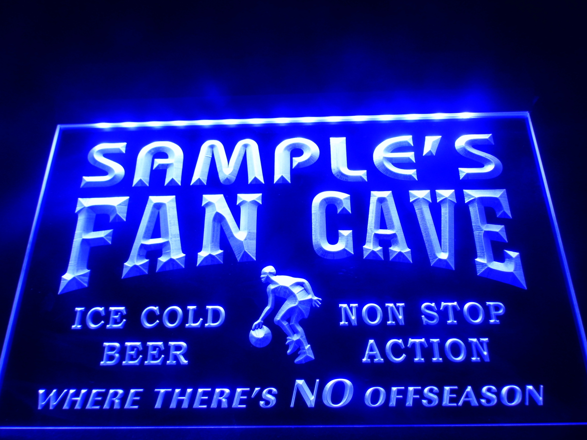 Dz064 name personalized custom basketball fan cave man for Room decor neon signs