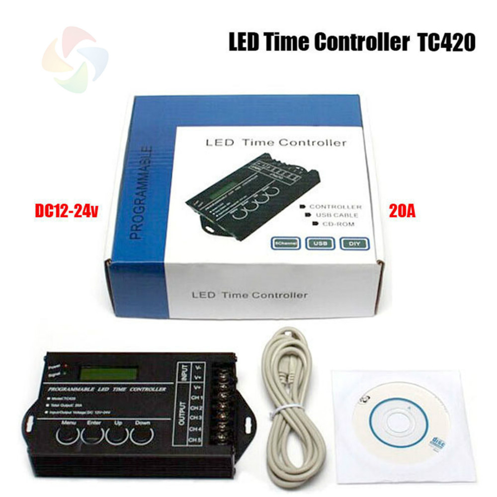 DC12-24V 20A 5 Channel output computer programmable led time controller.TC420 Assemble with USB cable and CD-ROM free ship(China (Mainland))