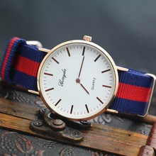 New arrival,Free shipping! Nylon fabric webbing band,gold alloy round case,two hands display,Gerryda fashion woman quartz watch(China (Mainland))