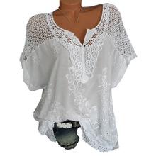 MoneRffi 2019 5XL плюс размеры для женщин кружево блузки для малышек Сексуальная выдалбливают Топ футболки Femme повседневное Camisa Блузы с коротким ру...(China)
