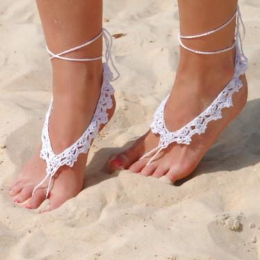 Beach wedding barefoot sandal crochet would
