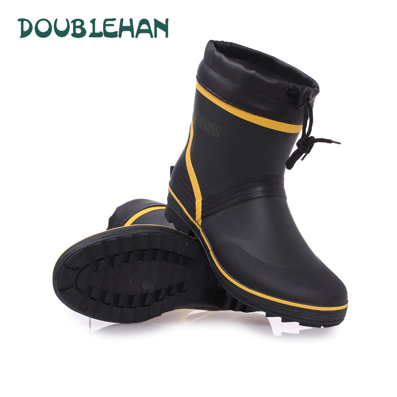 Fashion men mid calf winter warm rubber rain boots high for Waterproof fishing boots